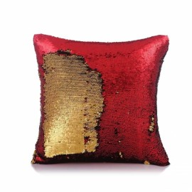 Reversible Sequin Mermaid Pillowcase Magical Color Changing Pillow Cushion Cover Home Car Decor - Red+Gold
