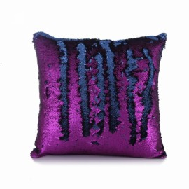 Reversible Sequin Mermaid Pillowcase Magical Color Changing Pillow Cushion Cover Home Car Decor - Purple+Matte Black