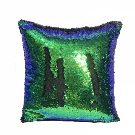 Reversible Sequin Mermaid Pillowcase Magical Color Changing Pillow Cushion Cover Home Car Decor - Green+Black