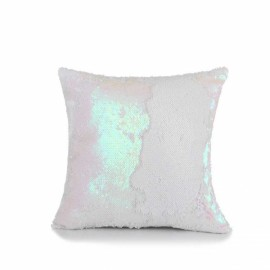 Reversible Sequin Mermaid Pillowcase Magical Color Changing Pillow Cushion Cover Home Car Decor - White+Pink