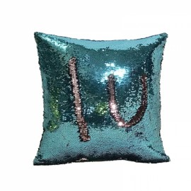 Reversible Sequin Mermaid Pillowcase Magical Color Changing Pillow Cushion Cover Home Car Decor - Lake Blue+Pink