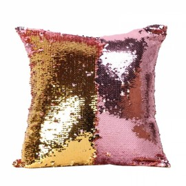 Reversible Sequin Mermaid Pillowcase Magical Color Changing Pillow Cushion Cover Home Car Decor - Pink+Gold