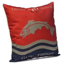Honana WX-118 Thrones Games Pillow Case Throw Car Sofa Seat Cushion Cover - House Tully Wine Red Printed