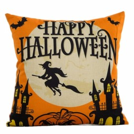 Happy Halloween Linen Square Burlap Decorative Throw Pillow Case Cushion Cover #1