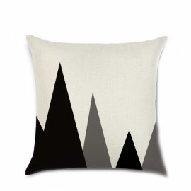 Simple Geometric Designs Cotton Linen Decorative Throw Pillow Cover 45x45cm - Pattern D