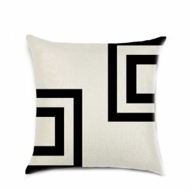 Simple Geometric Designs Cotton Linen Decorative Throw Pillow Cover 45x45cm - Pattern B