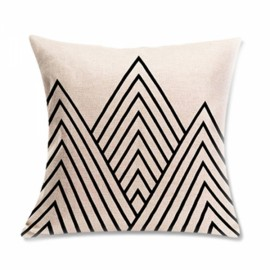 Simple Geometric Designs Cotton Linen Decorative Throw Pillow Cover 45x45cm - Pattern G