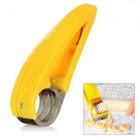 Practical PP Handle Stainless Steel Banana Fruit Slicer Yellow & Silver