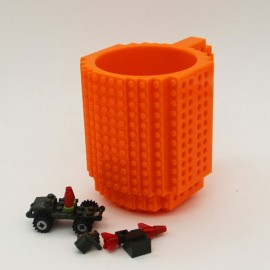 Creative DIY Puzzle Block Toy Brick Mug Coffee Cup Orange (350ml)