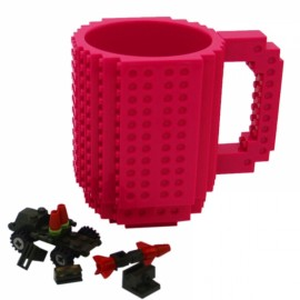 Creative DIY Puzzle Block Toy Brick Mug Coffee Cup Peach (350ml)