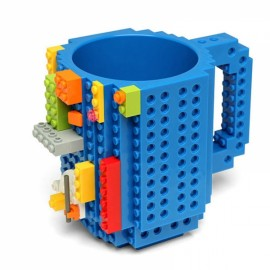 Creative DIY Puzzle Block Toy Brick Mug Coffee Cup Blue (350ml)