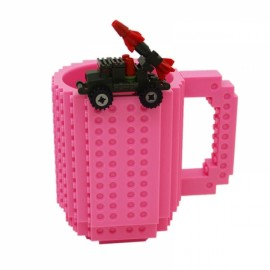 Creative DIY Puzzle Block Toy Brick Mug Coffee Cup Pink (350ml)