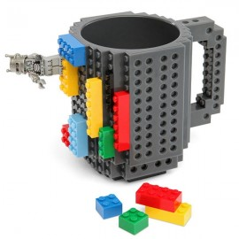 Creative DIY Puzzle Block Toy Brick Mug Coffee Cup Gray (350ml)