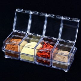 4pcs Transparent Seasoning Salt Jar Storage Box Kitchen Spice Sugar Storage Box Jar Transparent