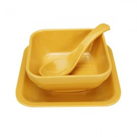Colorful Melamine Square Dessert Bowl Dish Spoon 3-Piece Set Yellow