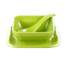 Colorful Melamine Square Dessert Bowl Dish Spoon 3-Piece Set Green
