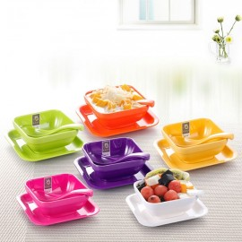 Colorful Melamine Square Dessert Bowl Dish Spoon 3-Piece Set White