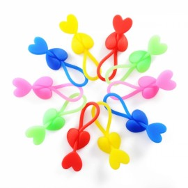5pcs Heart-shaped Silicone Food Bag Sealing Clip Snack Food Storage Clips Phone Cable Line Organizers Random Color