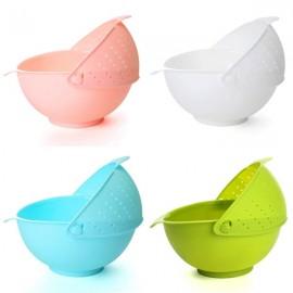 2-in-1 Vegetables Basin Wash Rice Sieve Fruit Bowl Fruit Basket Kitchen Gadget Random Color