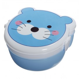 Microwaveable Cute Cat Pattern Two Layers Cartoon Plastic Lunch Meal Bento Food Box with Spoon Colorful