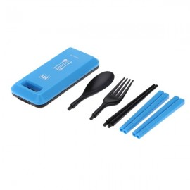 Outdoor Travel Picnic Portable Tableware Set Eco-friendly ABS Chopsticks Spoon Fork Storage Box Blue
