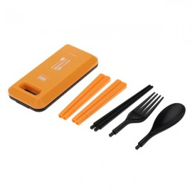 Outdoor Travel Picnic Portable Tableware Set Eco-friendly ABS Chopsticks Spoon Fork Storage Box Orange