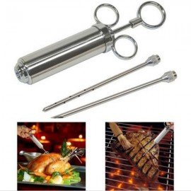 Stainless Steel 304 Seasoner Injector with Needles for Turkey Barbecue Silver