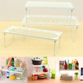 Multifunctional Foldable Plastic Storage Rack Home Bathroom Closet Kitchen Shelf Holder Organizer White L