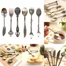 6pcs Elegant Vintage Royal Style Kitchen Dining Bar Coffee Spoons Red Bronze