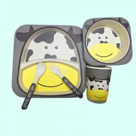 Cute Design 100% Bamboo Fiber Dinnerware Children Tableware 5-Piece Set Cow Pattern