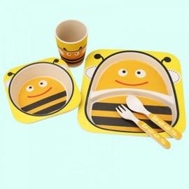 Cute Design 100% Bamboo Fiber Dinnerware Children Tableware 5-Piece Set Bee Pattern