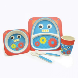 Cute Design 100% Bamboo Fiber Dinnerware Children Tableware 5-Piece Set Robot Pattern