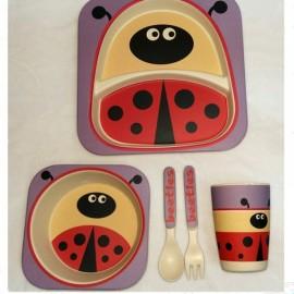 Cute Design 100% Bamboo Fiber Dinnerware Children Tableware 5-Piece Set Beetle Pattern