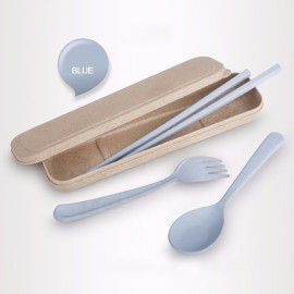 Wheat Straw Portable Travel Camping Picnic Flatware Cutlery Spoon Fork Chopsticks Set with Case Blue