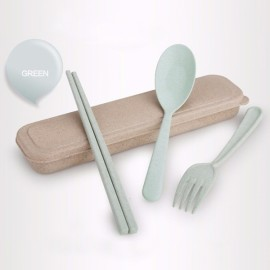 Wheat Straw Portable Travel Camping Picnic Flatware Cutlery Spoon Fork Chopsticks Set with Case Green