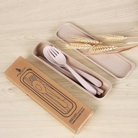 Wheat Straw Portable Travel Camping Picnic Flatware Cutlery Spoon Fork Chopsticks Set with Case Beige