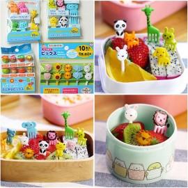 10pcs/set Mini Cartoon Zoo Animal Fruit Fork Resin Toothpick Decorative Plastic Forks Cutlery Set Color & Pattern Random