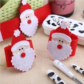 4pcs Santa Claus Napkin Ring Serviette Holder Christmas Decor Red & White