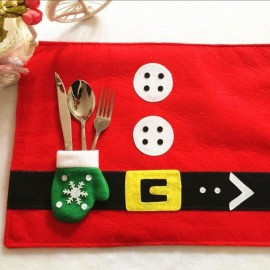 Christmas Santa Claus Glove Pattern Dinning Placemat Table Mat Dinner Decoration Red