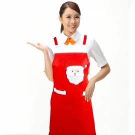 Cute Santa Claus Style Kitchen Non-woven Fabric Christmas Apron Red
