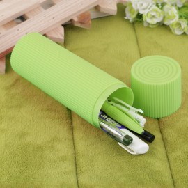 Portable Candy Color Stripes Pattern Toothbrush Toothpaste Holder Storage Box for Traveling Green