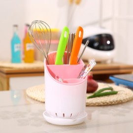Kitchen Home Drainer Storage Chopsticks Fork Spoon Dryer Organizer Cutlery Holder Pink