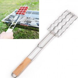 BBQ Tools Barbecue Grill Wooden Handle Sausage Vegetables Clip Silver & Wood Color