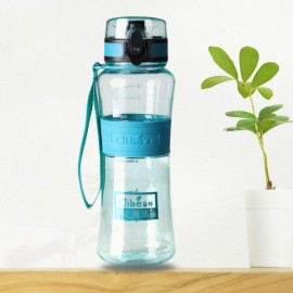 450mL Leak-Proof Seal Nozzle Sport Bicycle Plastic Water Bottle Cup with Cover Lip and Hang Rope Green