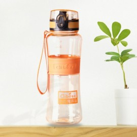 600mL Leak-Proof Seal Nozzle Sport Bicycle Plastic Water Bottle Cup with Cover Lip and Hang Rope Orange