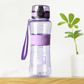 600mL Leak-Proof Seal Nozzle Sport Bicycle Plastic Water Bottle Cup with Cover Lip and Hang Rope Purple