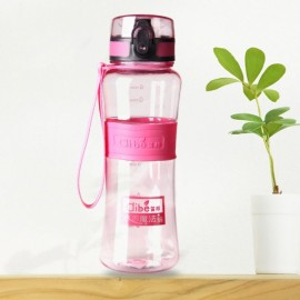 450mL Leak-Proof Seal Nozzle Sport Bicycle Plastic Water Bottle Cup with Cover Lip and Hang Rope Pink