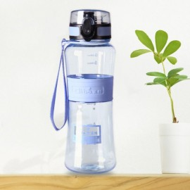 450mL Leak-Proof Seal Nozzle Sport Bicycle Plastic Water Bottle Cup with Cover Lip and Hang Rope Sky Blue
