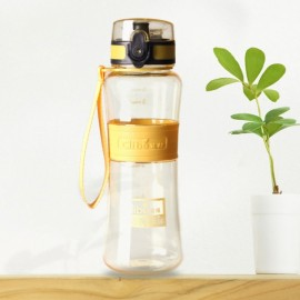450mL Leak-Proof Seal Nozzle Sport Bicycle Plastic Water Bottle Cup with Cover Lip and Hang Rope Yellow