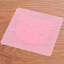 Cute Cartoon Bear Multifunctional Silicone Wrap Seal Cover for Microwave Oven Refrigerator Pink